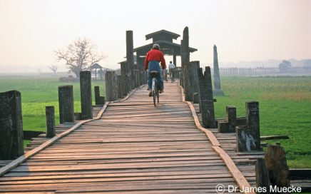 Cyclist on U Bein's Bridge, Myanmar © Dr James Muecke